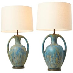 Pair of Danish Amphora Shaped Pottery Lamps