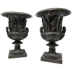 Fine Pair of Antique Roman Neoclassical Period Campagna Shaped Medici Vases