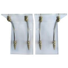 1970s Hollywood Regency Style Lucite and Brass Wall Brackets