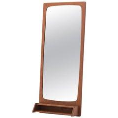 Danish Modern Mirror with Shelf