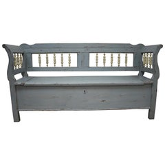 Painted Pine and Oak Storage Bench