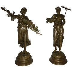Pair of 19th/20th Century Bronze Figures Bare Breasted Female Gardeners