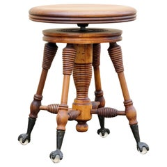Antique Piano Stool with Claw and Glass Ball Foot