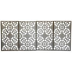 Set of Four 19th Century Japanese Lattice Wooden Panels