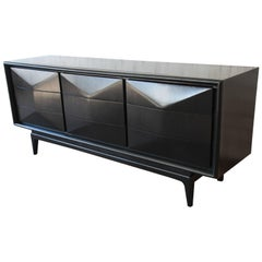 Ebonized Diamond Front Triple-Dresser or Credenza by United