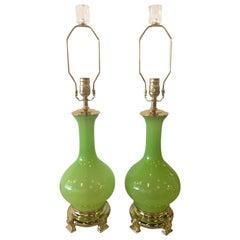 Vintage Paul Hanson Pair of Apple Green Opaline Glass Brass Table Lamps