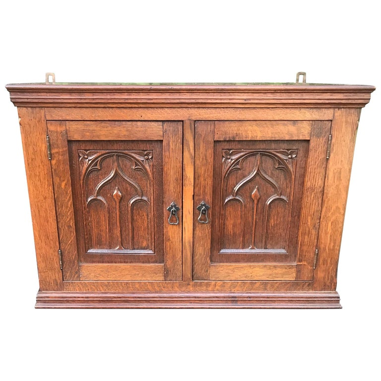 Glorious Looking Antique Handcrafted Oak Gothic Revival Hanging Wall Cabinet For