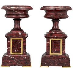 French Rouge Griott Marble Urns