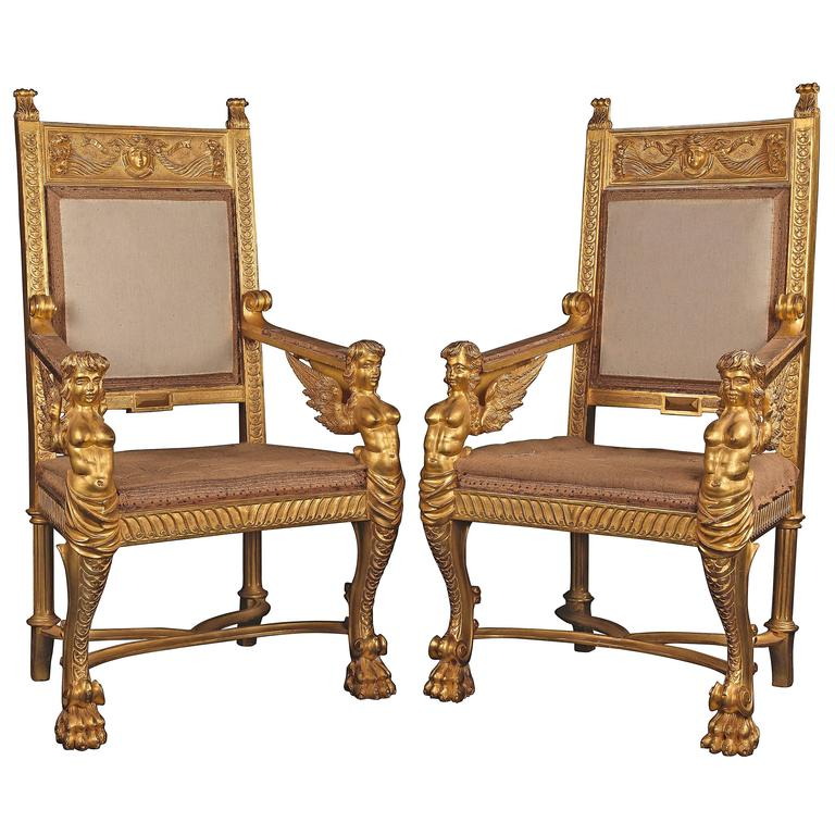 Pair of 19th Century Italian Carved Giltwood Thrones