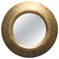 Gold Patina Round Mirror by Serge de Troyer, Belgium, 2011