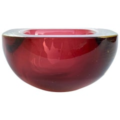 Murano Ashtray, Flavio Poli, Submerged Glass, Red, Glass, Italy, 1960s