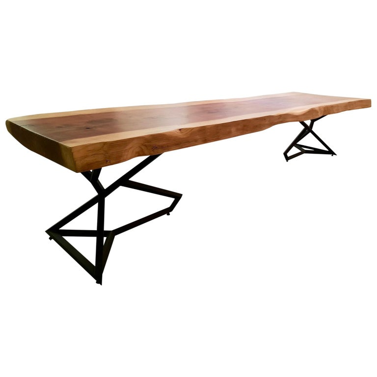 Accoya Wood Table and Painted Steel Base