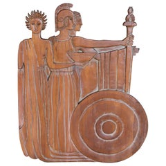 Wood Carving Wall Sculpture Ancient Rome