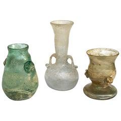 """""""A Scavo"""" Seguso Vetri d'Arte Three Artistic Glass Vases Murano, Italy, 1960s"""