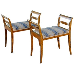 Pair of Swedish Inlaid Benches or Stools in Highly Figured Birch, circa 1920