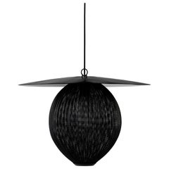 Large Mathieu Matégot 'Satellite' Pendant in Black Metal