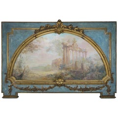 19th Century French Carved Wood Panel with Painted Inset Canvas Panel