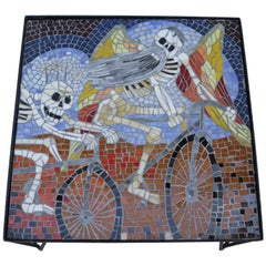"""Colorful Glass Mosaic Coffee Table in the Style of """"Dia de Muertos"""" #2"""