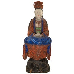 Large Antique Early 20th Century 'or Earlier' Chinese Polychrome Guanyin