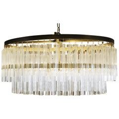 Oval Glass and Brass Chandelier