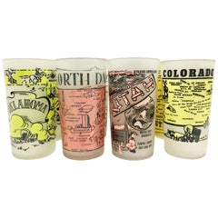 """20th Century Printed and Frosted Souvenir """"State"""" Drink Glasses Set of 8"""