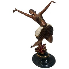 "Original Erte Bronze ""La Danseuse"" Limited Edition Art Deco Style Sculpture"