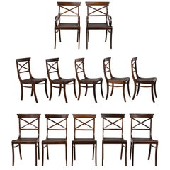 Set of 12 Dining Chairs in Regency Style Complete Restoration
