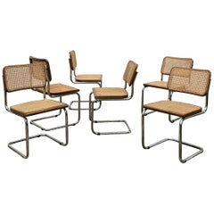 Marcel Breuer Bauhaus Wien Straw B32 Cesca Dining Room Chairs, 1970s, Set of 6