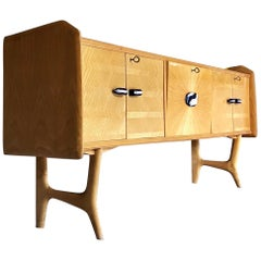 Ico Parisi Style Midcentury Sycamore and Blue Porcelain Sideboard, 1950s