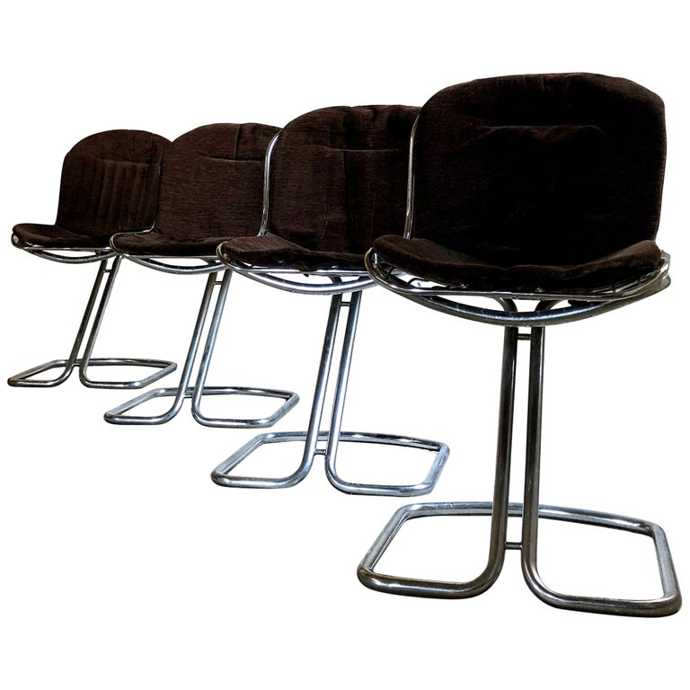 Gastone Rinaldi Space Age Chrome & Velvet Dining Room Chairs, 1970s, Set of 8 For Sale