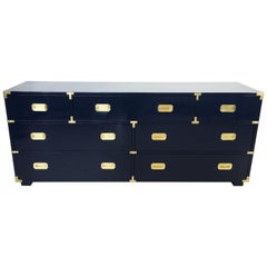 Lacquered in Blue Vintage Campaign Dresser