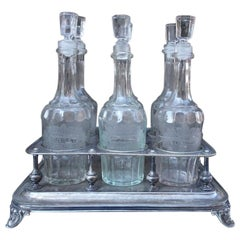 French Antique Drinks Stand with Six Decanters