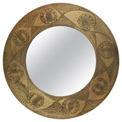 Saturn Acid Etched Patinated Brass with Antique Mirror by Studio Belgali