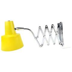 1960s Mid-Century Modern Yellow Scissor Lamp