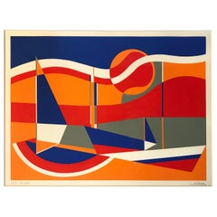"Framed Mid-Century Modern ""Boats"" Serigraph by Susan Perea"