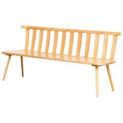 1960s Wooden Beech Long Seating Bench