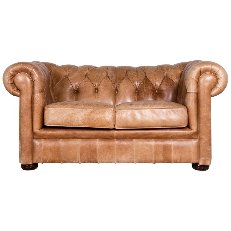 Chesterfield Leather Sofa Brown Red Vintage Two-Seat Couch