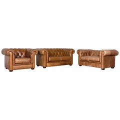 Chesterfield Leather Sofa Armchair Set Brown Red Vintage Two-Seat Couch