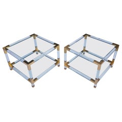 Pair of Lucite Square Two-Tier Side Tables with Brass Details