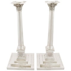 Antique Georgian Sterling Silver Column Candlesticks, 1803