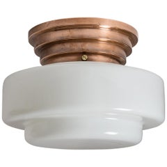 Art Deco Flush Mount, Copper and Milk Glass, 1930s