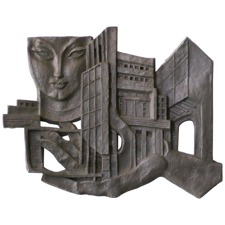 Architectural Wall Sculpture by Leon Leyritz For Sale