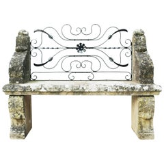 Carved Limestone Garden Bench Seat