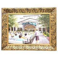 Original Oil Painting Sign W. Thiemann Concert Scene Gild Art Nouveau Frame