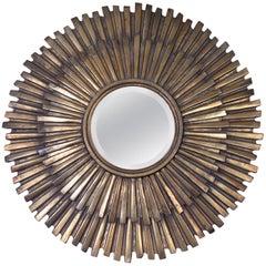 1960s Extra Large Gilded Metal Sunburst Mirror