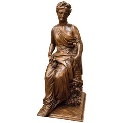 19th Century French Napoleón III Walnut Wood Sculpture, Allegory of Spring