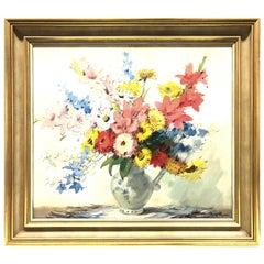 Original Oil Painting Sign Rolf Rugen Flower Still Life Wood Frame, 1950s