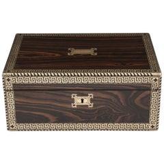 Antique Greek Key Calamander Brass Writing Box, 19th Century