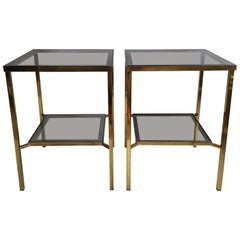Pair of Tall Vintage Brass Side Tables