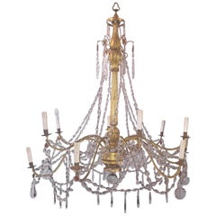 Italian End 18th Century Crystal Chandelier Gilded Wood and Crystal 12 Lights